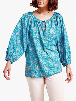 East Farrah Floral Print Tie Neck Top, Teal