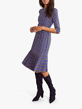 Boden Casey Abstract Midi Dress, French Navy