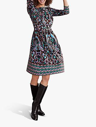 Boden Marie Ponte Dress, Peacock/Multi