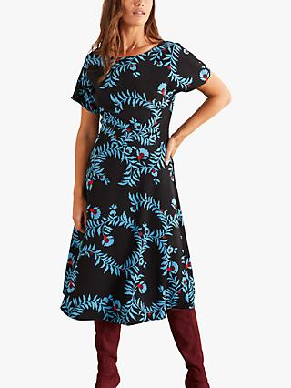 Boden Cynthia Floral Midi Dress, Wild Bramble