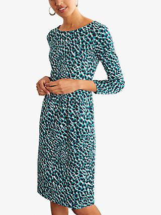 Boden Penny Jersey Animal Print Knee Length Dress, Ivory