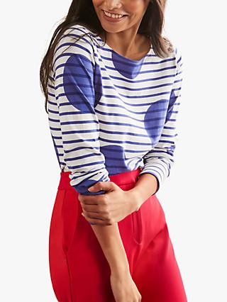 Boden Breton Stripe Spot Print Long Sleeved Top, Blue