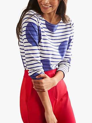 Boden Breton Stripe Spot Print Long Sleeved Top, Blue
