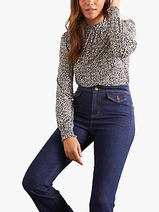 Boden Victoria Floral Print Frill Neck Top