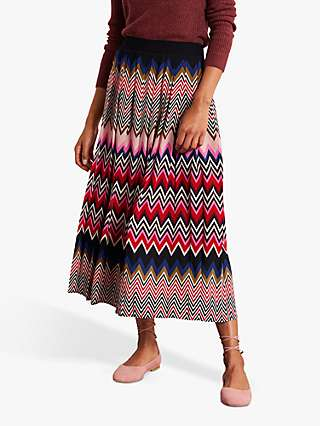 Boden Musgrove Chevron Print Loose Pleat Skirt, Multi