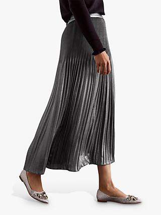 Boden Cassidy Pleated Midi Skirt, Pewter