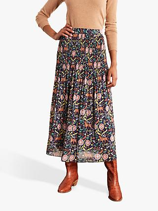 Boden Cassidy Animal and Nature Print Pleat Top Maxi Skirt, French Navy/Multi