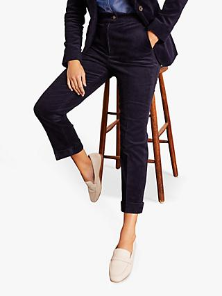 Boden Dulwich Corduroy Ankle Grazer Trousers, Navy