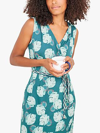 White Stuff Avery Leaf Print Dress, Teal