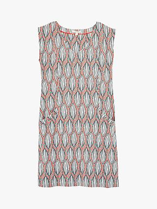 White Stuff Lena Leaf Print Shift Dress, Coral