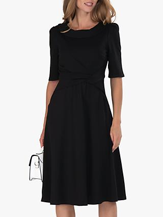 Jolie Moi Fold Collar Flare Knee Length Dress
