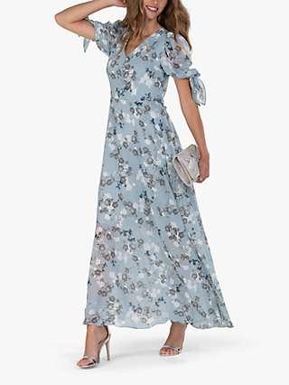 Jolie Moi Puff Sleeve Floral Maxi Dress, Blue Floral