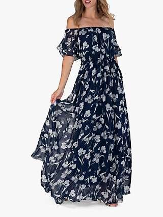 Jolie Moi Off Shoulder Floral Maxi Dress, Navy
