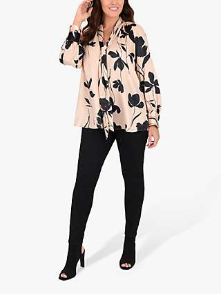 Live Unlimited Curve Floral Pussy Bow Blouse, Cream/Multi
