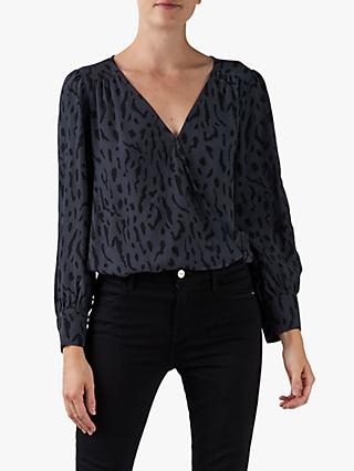 Rails Hilary Animal Print V-Neck Blouse, Grey