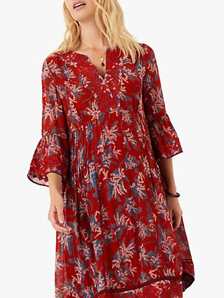 Brora Embroidered Silk Dress, Poppy/Lapis