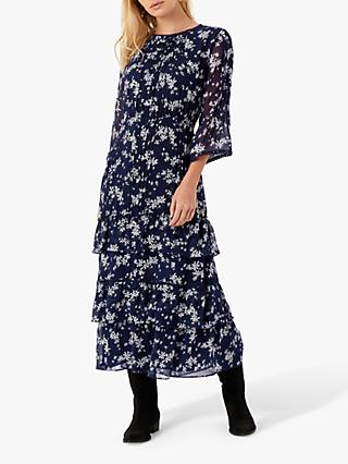 Brora Silk Floral Maxi Dress, Navy/Foam