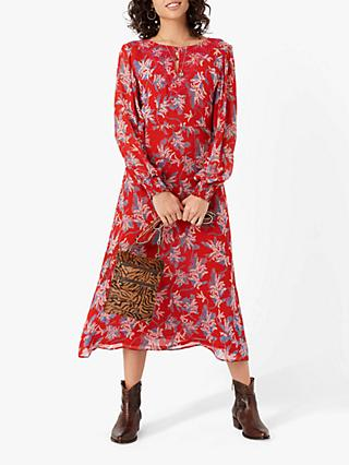 Brora SIlk Keyhole Floral Maxi Dress, Poppy/Lapis