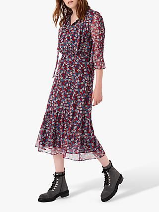 Brora Liberty Silk Tiered Midi Dress, Hawthorn