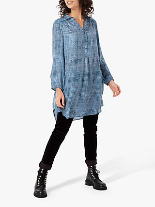 Brora Painterly Check Tunic, Sapphire/White