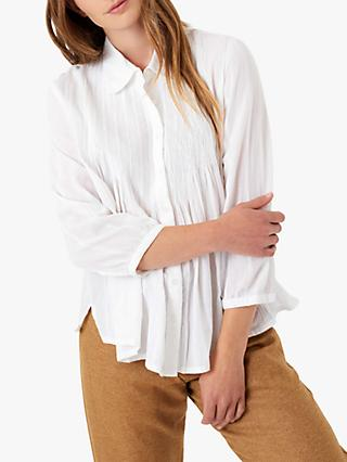 Brora Organic Cotton Pintuck Blouse, White