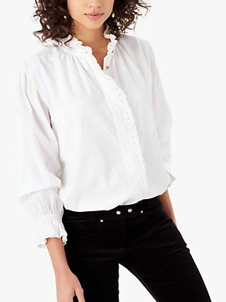 Brora Organic Cotton Broderie Blouse, White