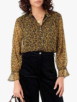 Brora Liberty Silk Chiffon Floral Blouse, Mustard