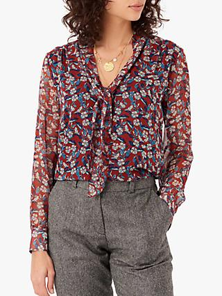 Brora Liberty Silk Bow Floral Blouse, Hawthorn