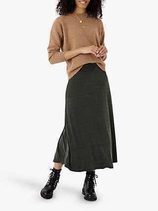 Brora Cupro Midi Skirt, Olive Green