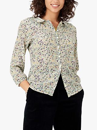 Brora Liberty Print Silk Peter Pan Blouse, Sage Berry