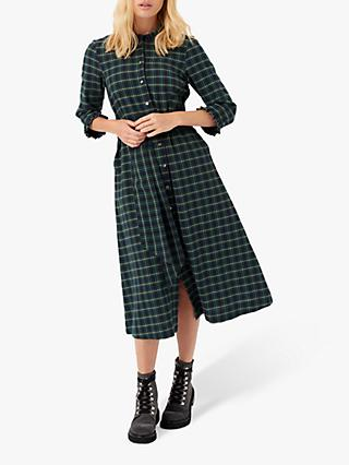Brora Cotton Plaid Shirt Dress, Navy/Ivy