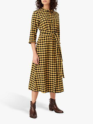 Brora Plaid Shirt Dress, Mustard/Carbon