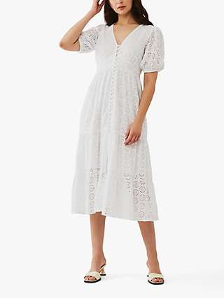 Ghost Aphra Embroidered Midi Dress, White
