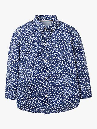 Mini Boden Boys' Space Alien Spaceship Print Party Shirt, Navy