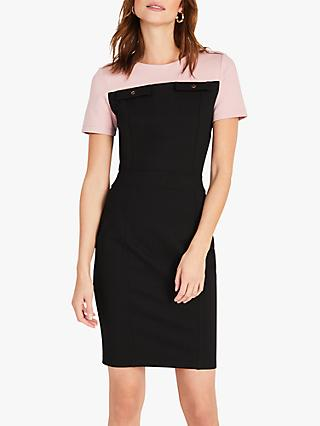 Damsel in a Dress Eternity Ponte Colour Block Mini Dress, Blush/Black