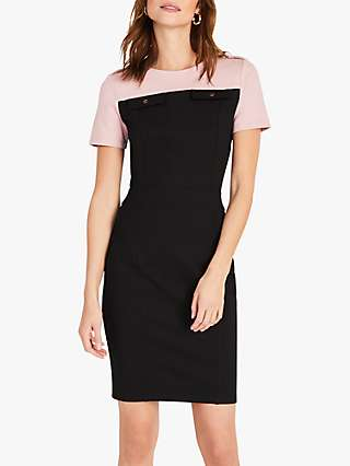 Damsel in a Dress Eternity Ponte Colour Block Mini Dress, Blush/Black