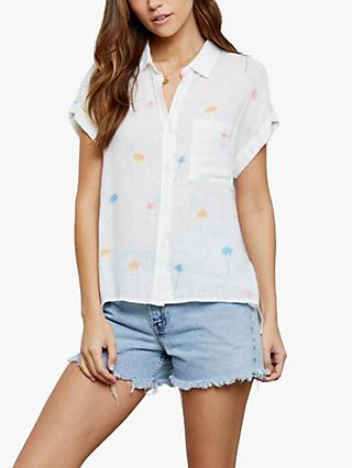 Rails Whitney Neon Palm Print Linen Blend Shirt, White/Multi