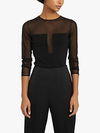 Reiss Lily Plunge Semi-Sheer Top, Black