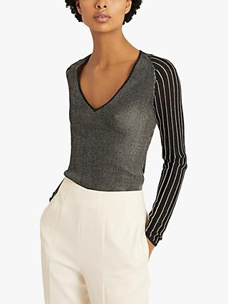 Reiss Esta Metallic Top, Black