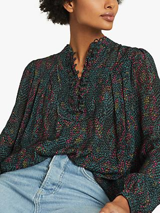 Reiss Gloria Snake Print Blouse, Green