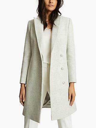 Reiss Evie Crombie Longline Wool Blend Coat