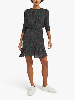 Reiss Renee Snake Print Mini Dress, Green