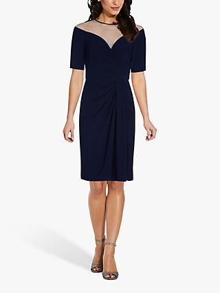 Adrianna Papell Draped Pencil Dress, Midnight