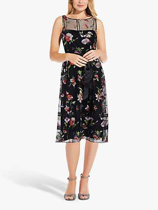 Adrianna Papell Halter Neck Floral Midi Dress, Black/Multi