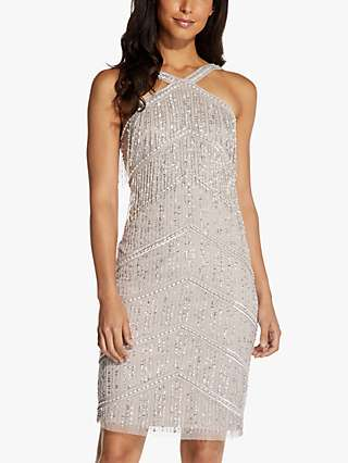 Adrianna Papell Halter Neck Fringe Embellished Mini Dress, Marble