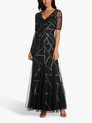 Adrianna Papell Beaded Covered Abstract Maxi Gown, Black/Mercury