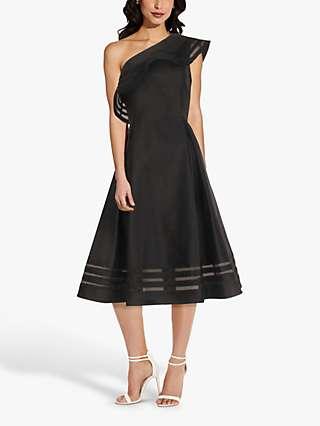 Adrianna Papell Mikado Organza Brocade Midi Dress, Black