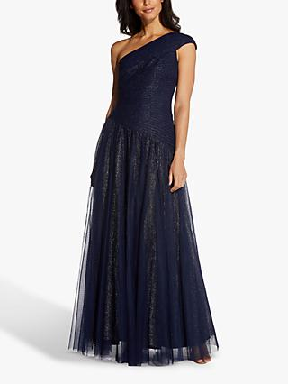 Adrianna Papell Shirred Tulle Embellished Maxi Gown, Midnight