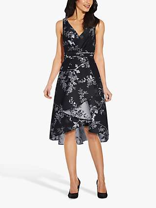 Adrianna Papell Pleated High Low Floral Midi Dress, Black/Silver