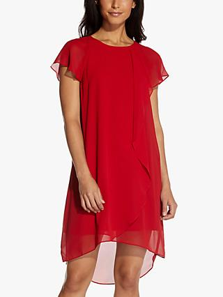 Adrianna Papell Chiffon Cocktail Wrap Mini Dress, Chilli Pepper